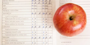 apple with report card