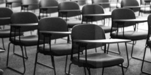 empty desks and chairs