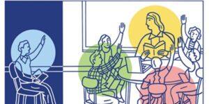 cartoon of students and teacher