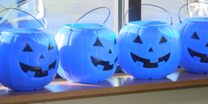 blue Halloween buckets